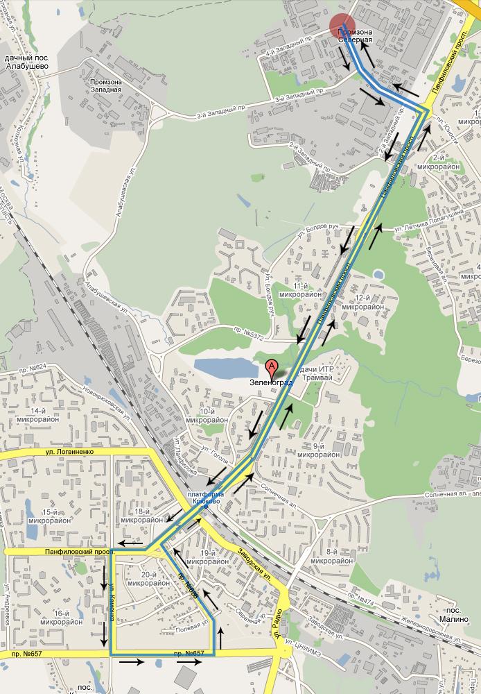Схема движения автобусов №28