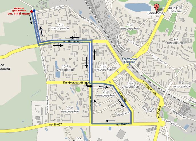 Схема движения автобусов №14